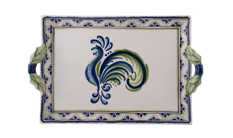 Blue Green Rooster Two Handled Tray