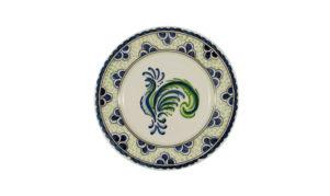 Blue Green Rooster Dessert Plate