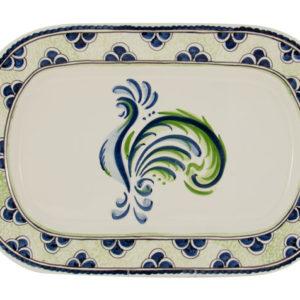 Blue Green Rooster Platter