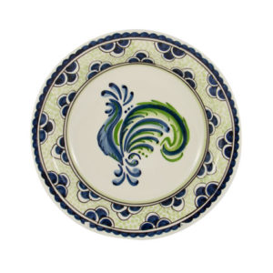 """Blue & Green Rooster 9"""" Dinner Plate"""