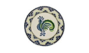 "Blue & Green Rooster 9"" Dinner Plate"