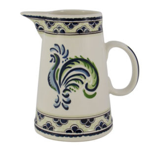 "Blue & Green Rooster 9"" Pitcher"