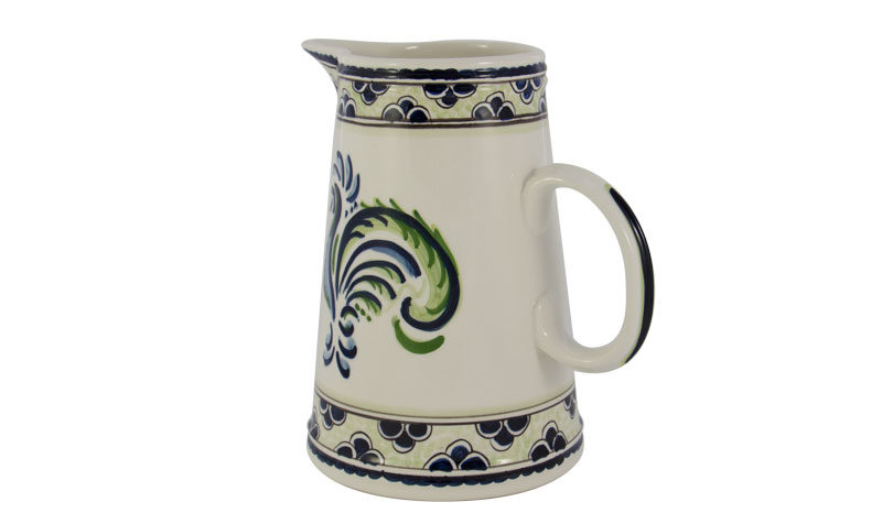 """Blue & Green Rooster 9"""" Pitcher"""