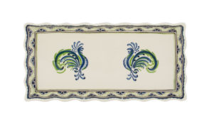 Blue & Green Rooster Tart Tray