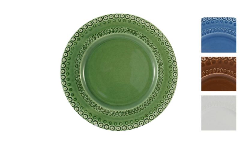 """Bordallo 10"""" Dinner Plate Green with Variations"""