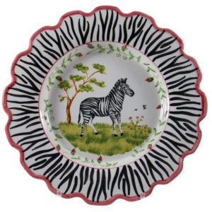 "Zebra 14"" Scalloped Serving Bowl"