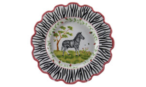 "Zebra 14"" Scalloped Serving Bowl"