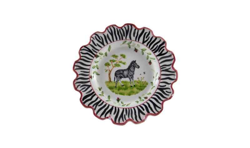 "Zebra 8"" Scalloped Dessert Plate"