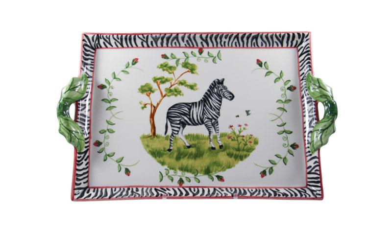 Zebra Two Handled Tray